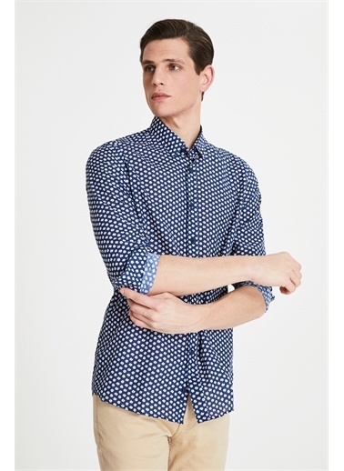 Tween Slim Fit Baskılı Vual Gömlek Lacivert